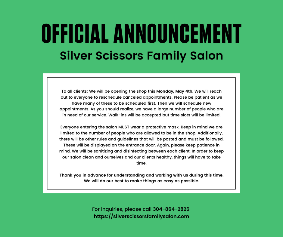 Silver Scissors Family Salon reopen